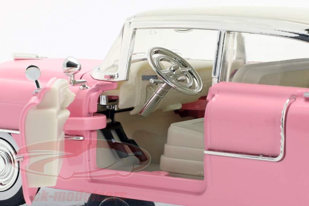 Cadillac Fleetwood año de construcción 1955 con Elvis figura rosa / blanco 1:24 Jada Toys
