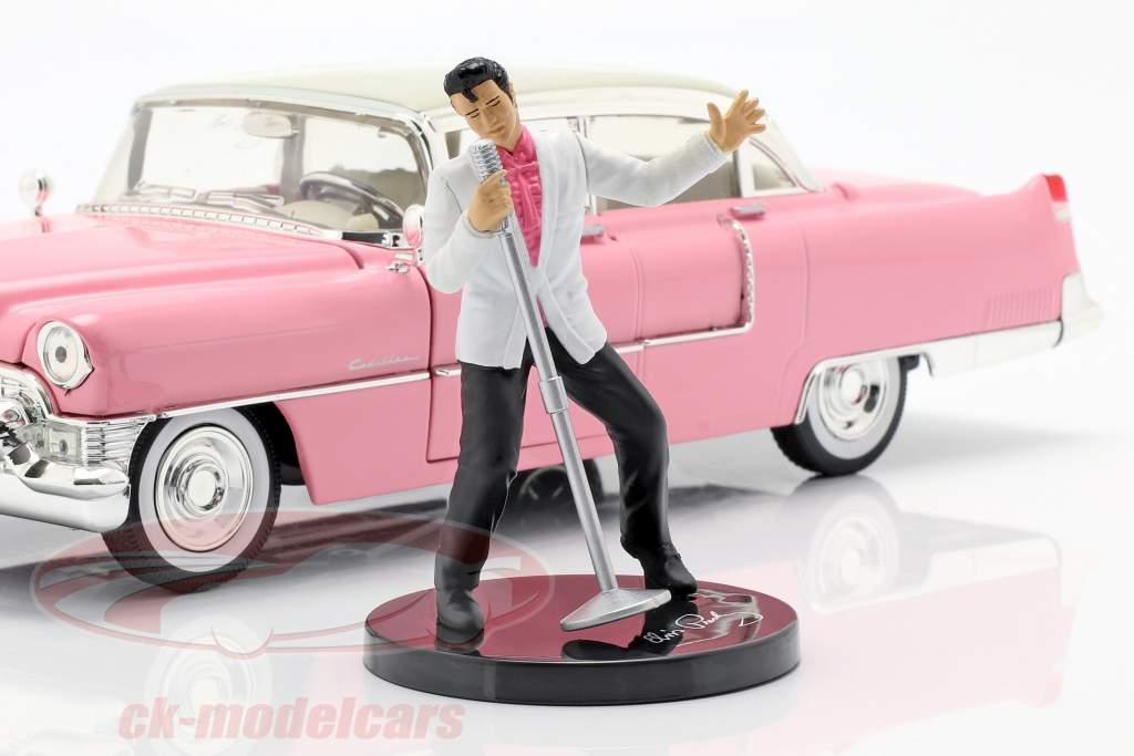 Cadillac Fleetwood anno di costruzione 1955 con Elvis cifra rosa / bianco 1:24 Jada Toys