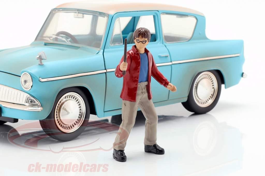 Ford Anglia ano de construção 1959 com Harry Potter figura azul claro 1:24 Jada Toys