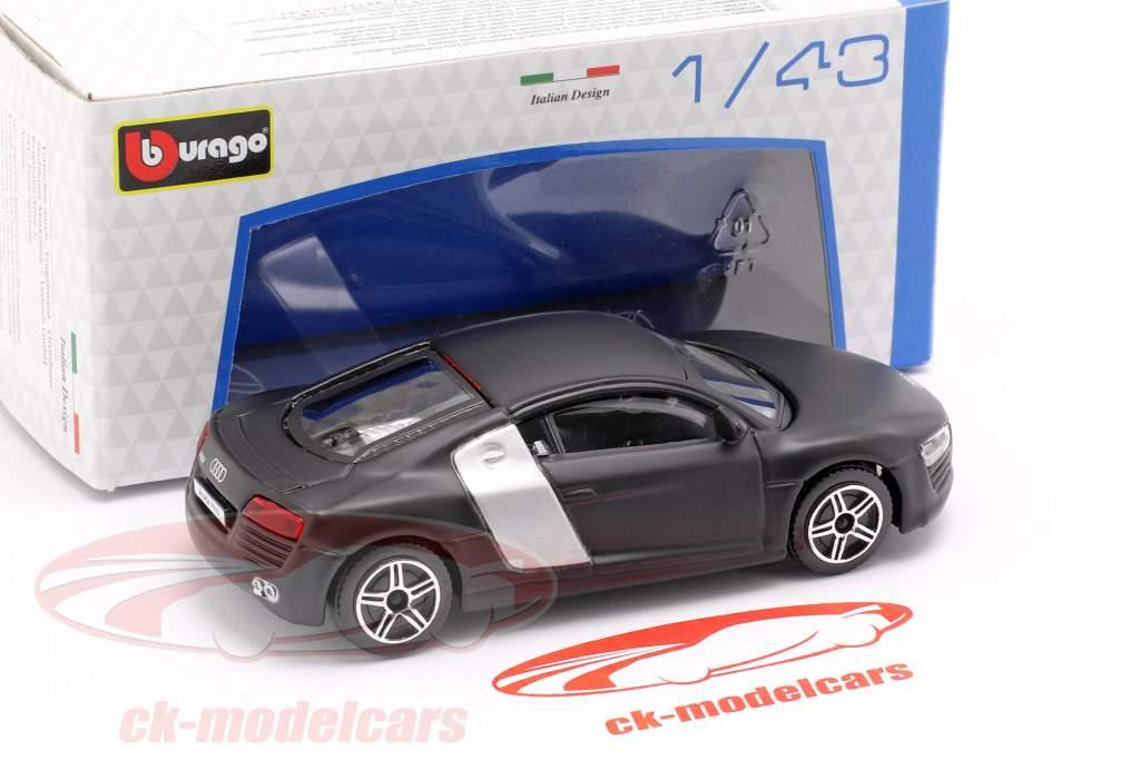 Audi R8 ottuso nero / argento 1:43 Bburago