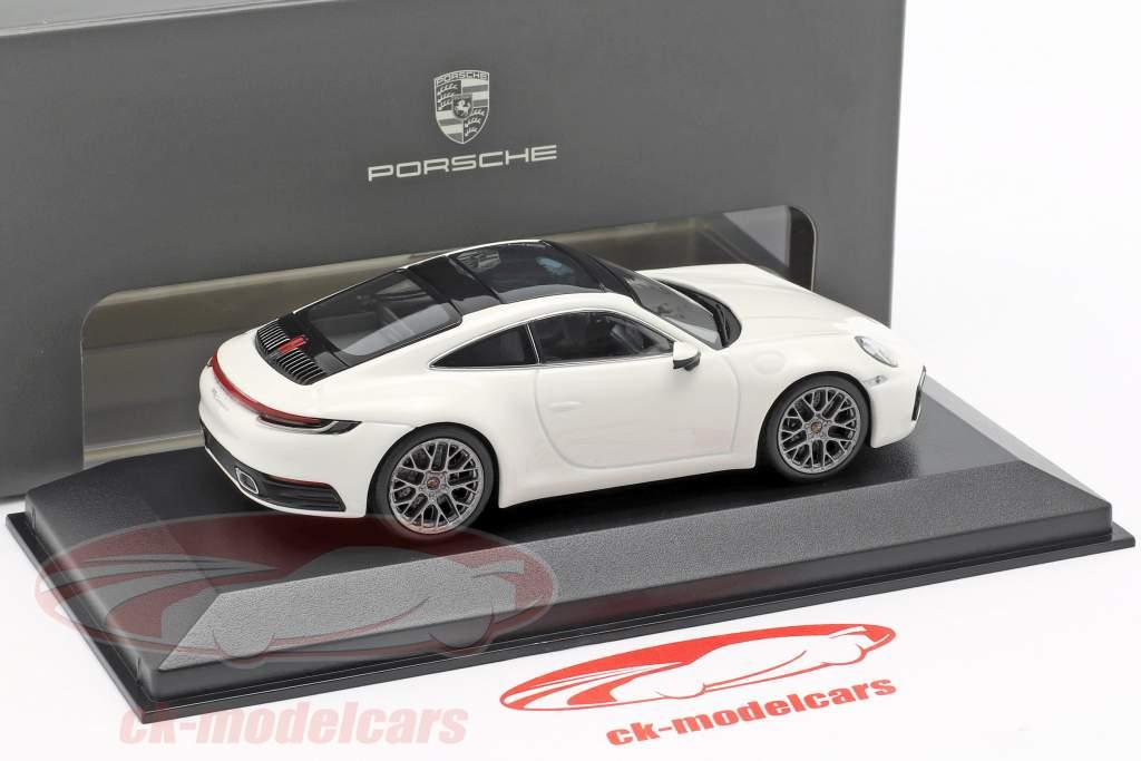 Porsche 911 (992) Carrera 4 wit / zwart 1:43 Minichamps