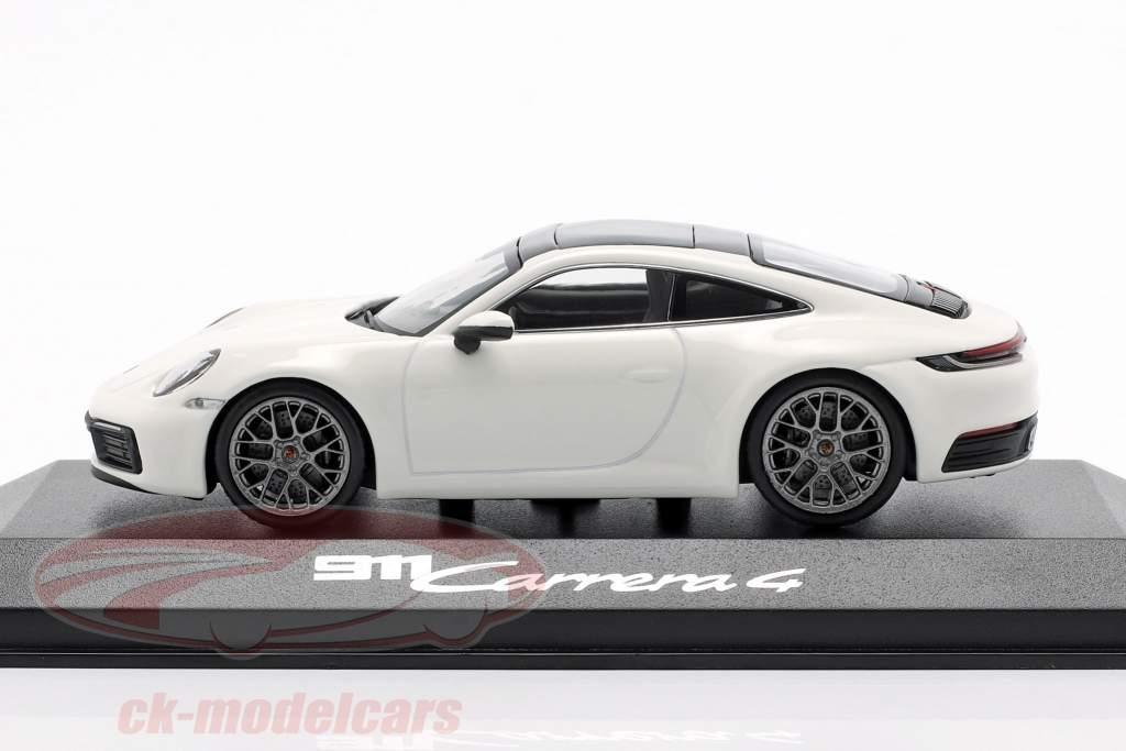 Porsche 911 (992) Carrera 4 hvid / sort 1:43 Minichamps