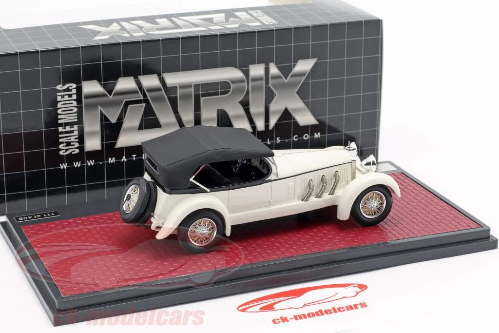 Mercedes-Benz 680S Tourer Sindelfingen Bouwjaar 1927 wit / zwart 1:43 Matrix