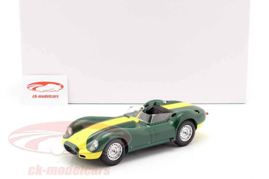 Jaguar Lister année de construction 1958 vert / jaune 1:18 Matrix