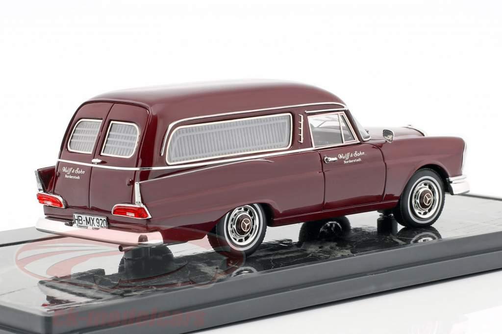 Mercedes-Benz 220SE (W111) Pollmann Hearse Bouwjaar 1966 purper 1:43 Matrix