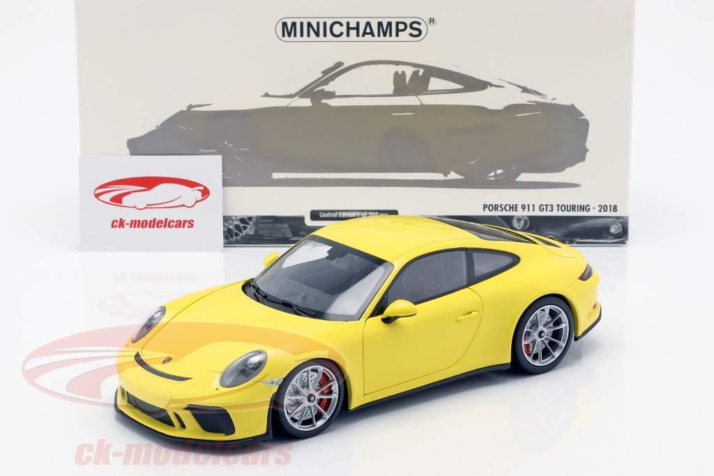 Porsche 911 (991/2) GT3 Touring año de construcción 2018 amarillo 1:18 Minichamps