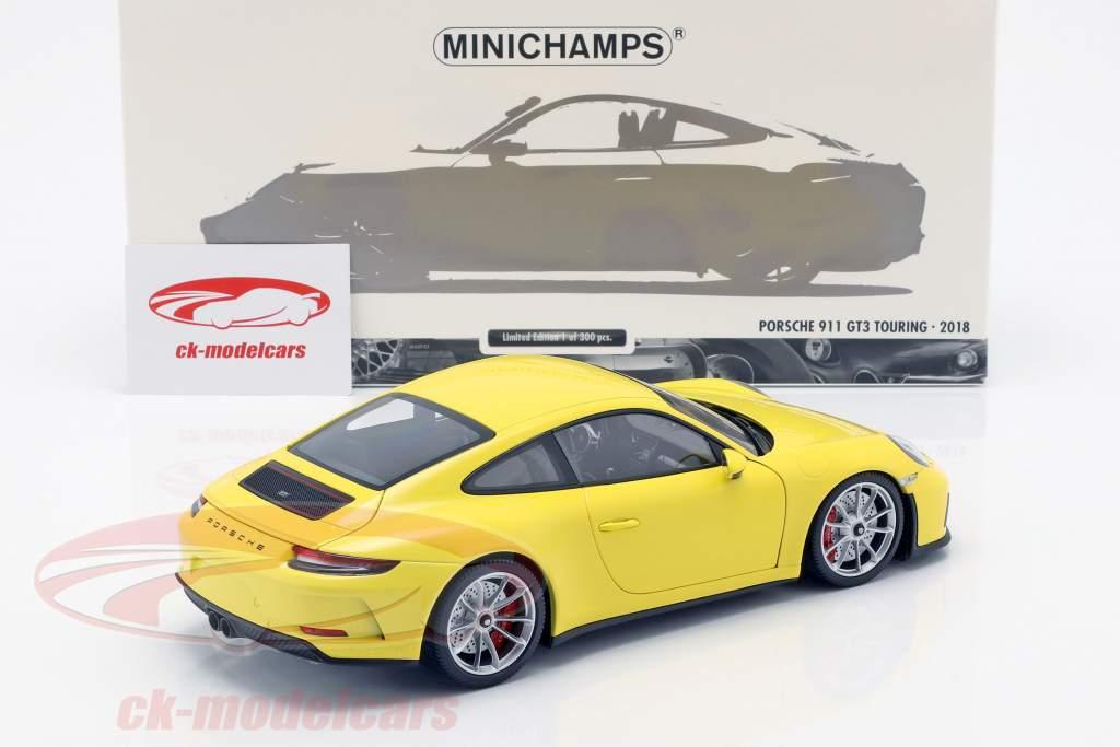 Porsche 911 (991/2) GT3 Touring Opførselsår 2018 gul 1:18 Minichamps