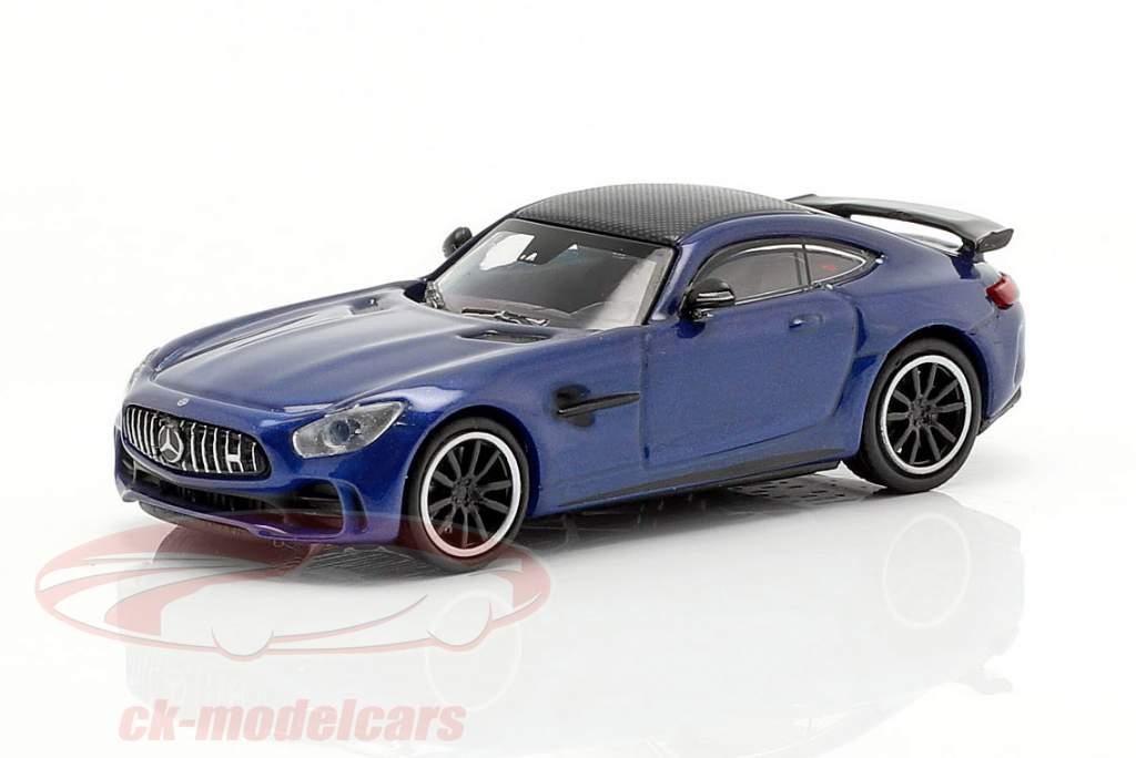 Mercedes-Benz AMG GT-R Opførselsår 2017 blå metallisk 1:87 Minichamps
