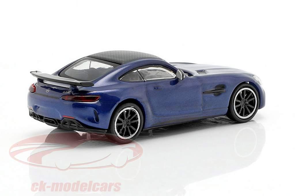 Mercedes-Benz AMG GT-R Bouwjaar 2017 blauw metalen 1:87 Minichamps
