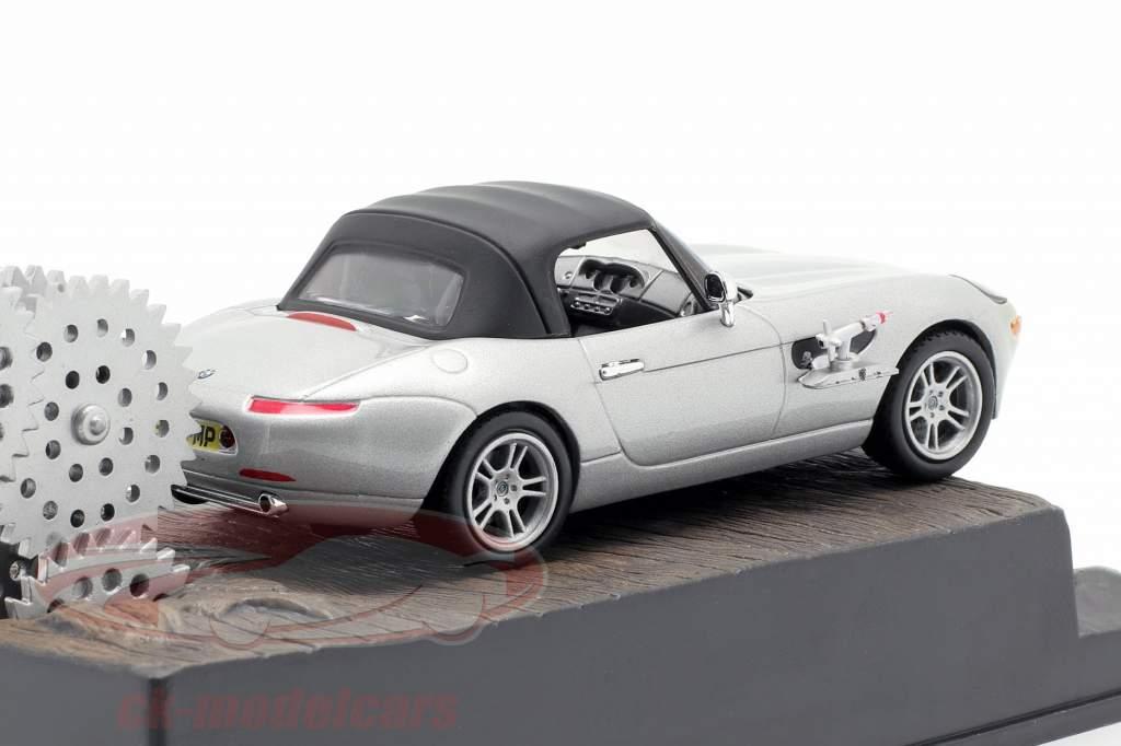 Carro BMW Z8 James filme de James Bond O mundo não é suficiente prata 1:43 Ixo