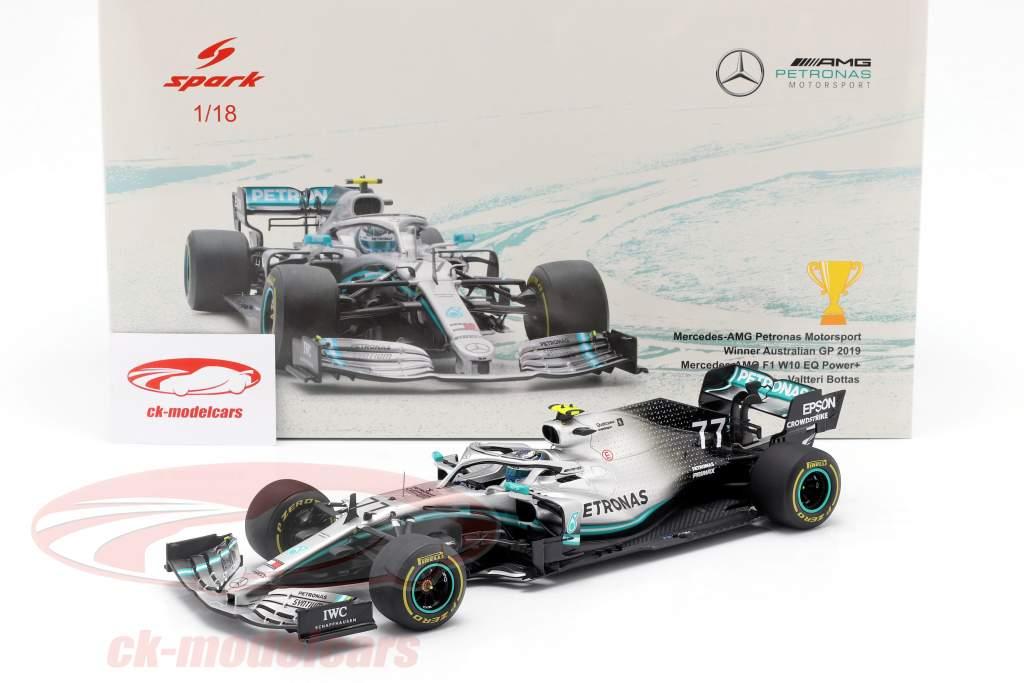 V. Bottas Mercedes-AMG F1 W10 #77 winnaar Australisch GP formule 1 2019 1:18 Spark