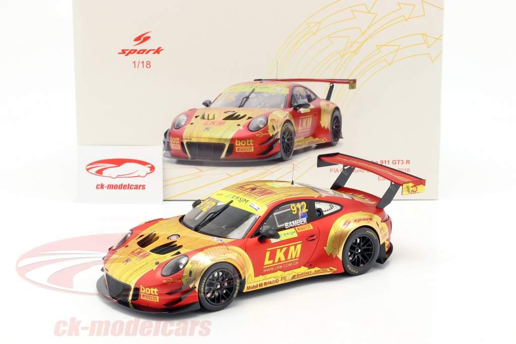 Porsche 911 GT3 R #912 cuarto FIA GT World Cup Macau 2018 Earl Bamber 1:18 Spark