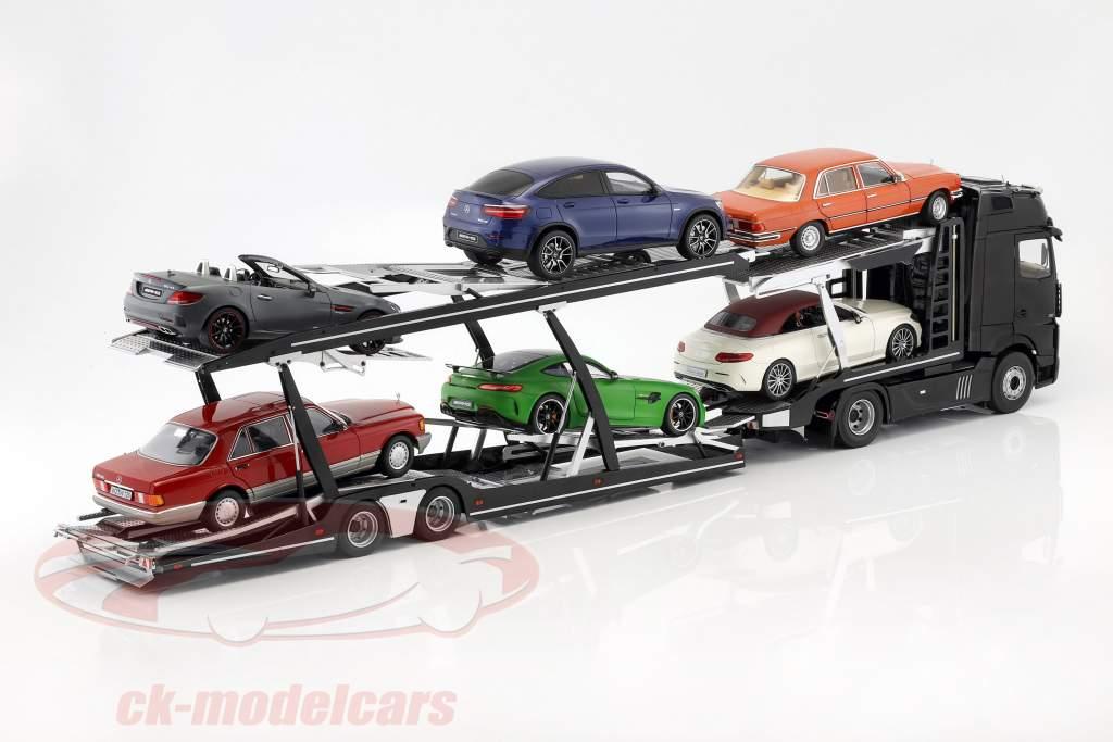Set Mercedes-Benz Actros with Lohr car transporter black / silver 1:18 NZG