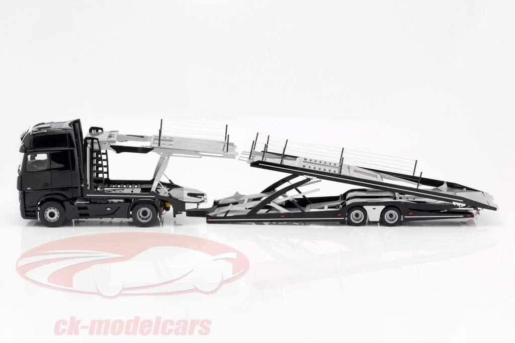 Set Mercedes-Benz Actros con Lohr transporte de coches negro / plata 1:18 NZG