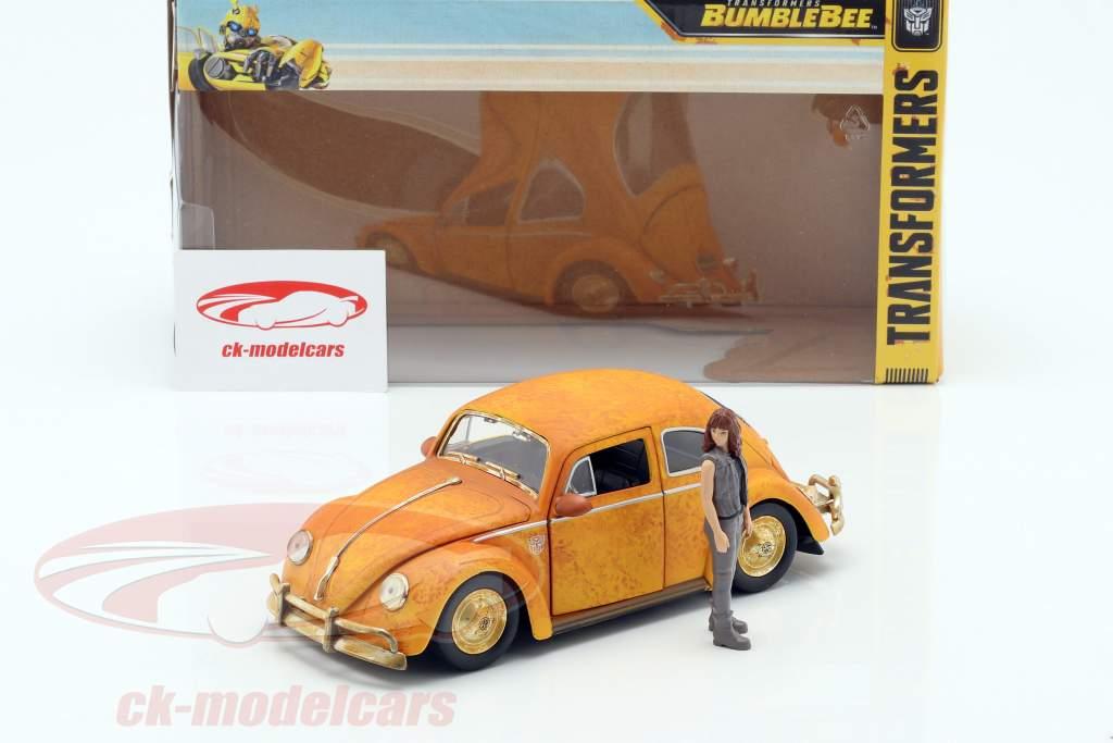Volkswagen VW Beetle Bumblebee avec Charlie figure Transformers 1:24 Jada Toys