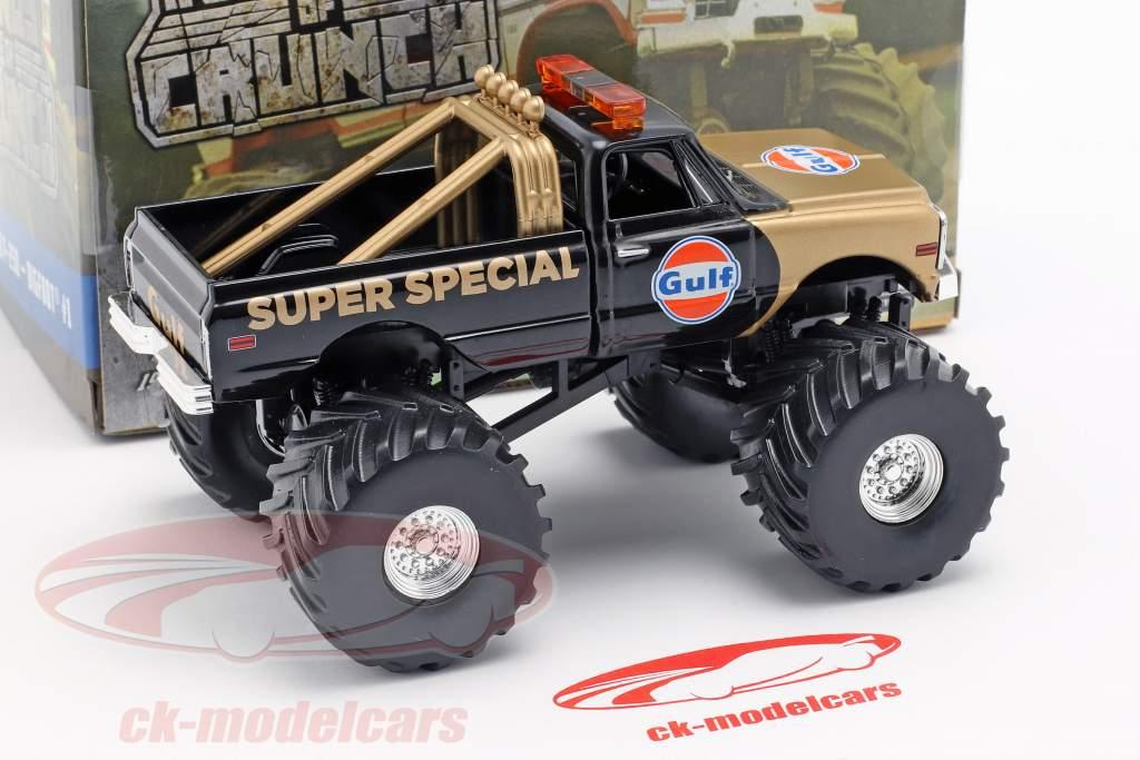 Chevrolet K-10 Gulf Super Special Monster Truck 1971 negro / oro 1:43 Greenlight