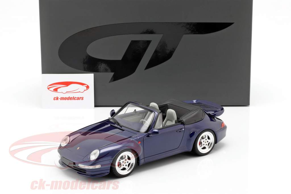 Porsche 911 (993) Turbo Cabriolet Opførselsår 1995 mørkeblå 1:18 GT-Spirit