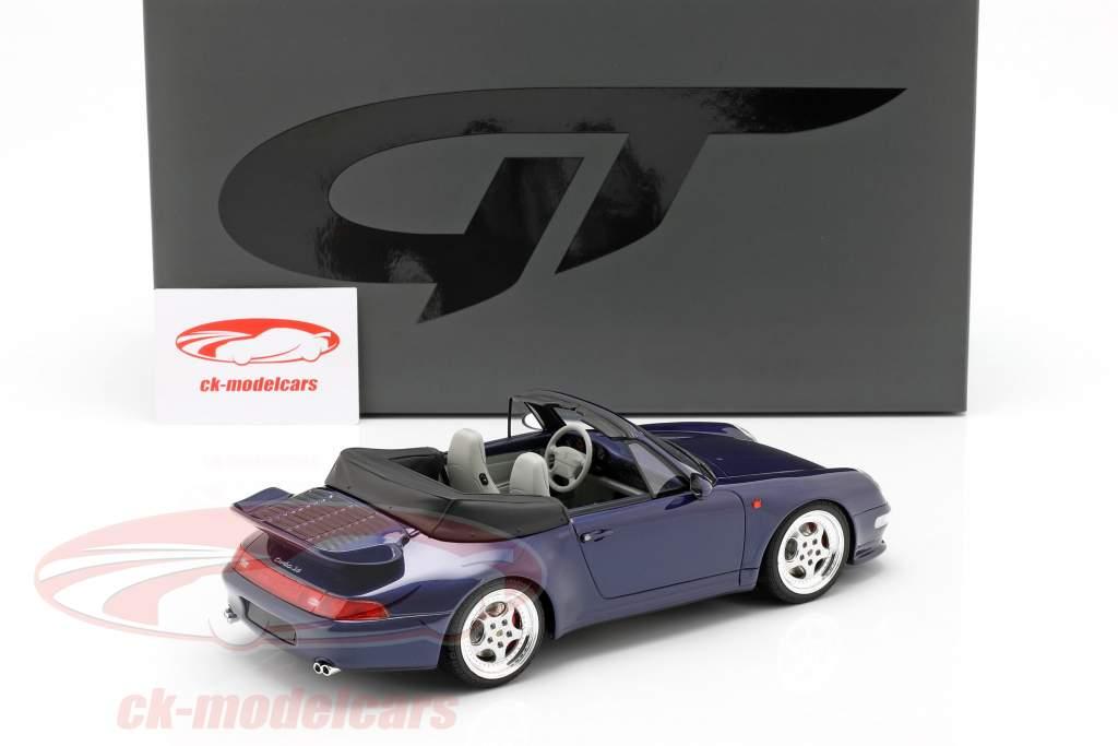 Porsche 911 (993) Turbo Cabriolet Bouwjaar 1995 donkerblauw 1:18 GT-Spirit