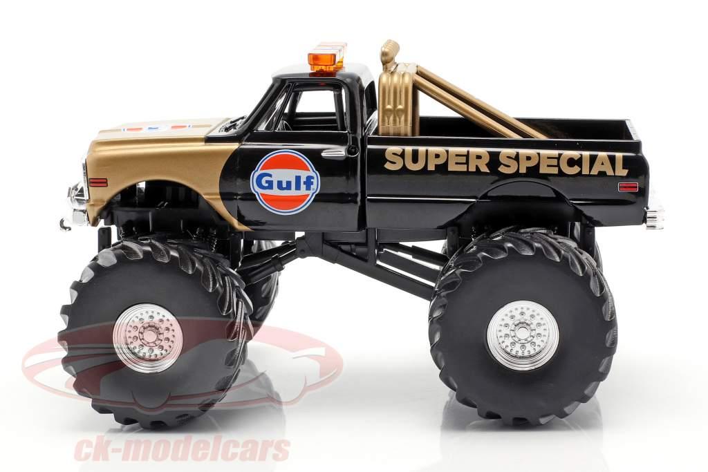 Chevrolet K-10 Gulf Super Special Monster Truck 1971 noir / or 1:43 Greenlight