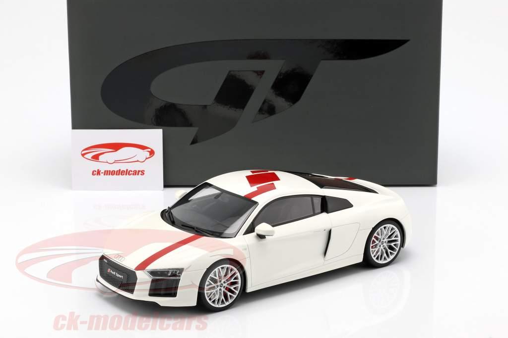Audi R8 RWS TBC Bouwjaar 2018 wit / rood 1:18 GT-Spirit