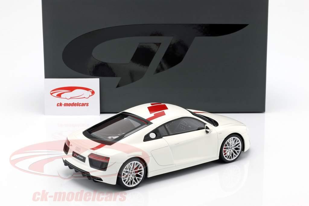 Audi R8 RWS TBC Opførselsår 2018 hvid / rød 1:18 GT-Spirit