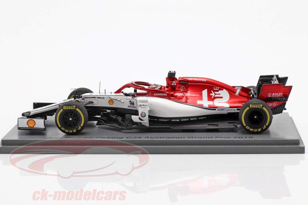 Kimi Räikkönen Alfa Romeo Racing C38 #7 australske GP F1 2019 1:43 Spark