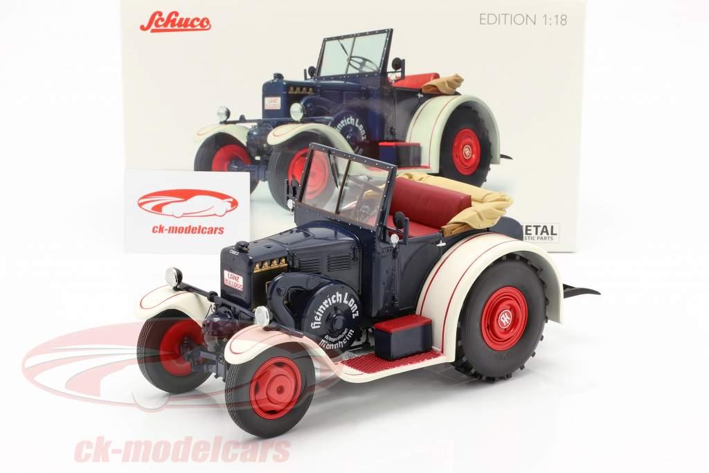 Lanz Eilbulldog tractor blue / white 1:18 Schuco