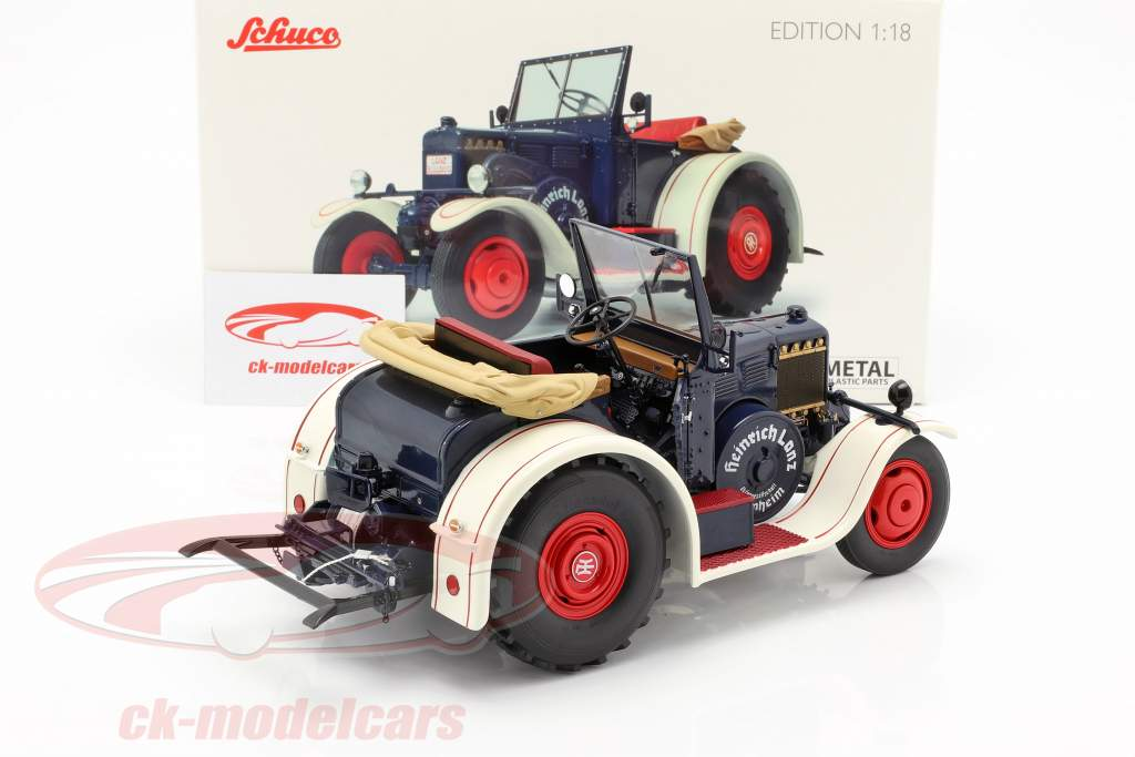 Lanz Eilbulldog tractor azul / blanco 1:18 Schuco