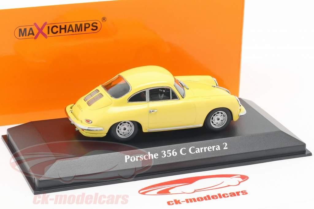 Porsche 356 C Carrera 2 Opførselsår 1963 lys gul 1:43 Minichamps