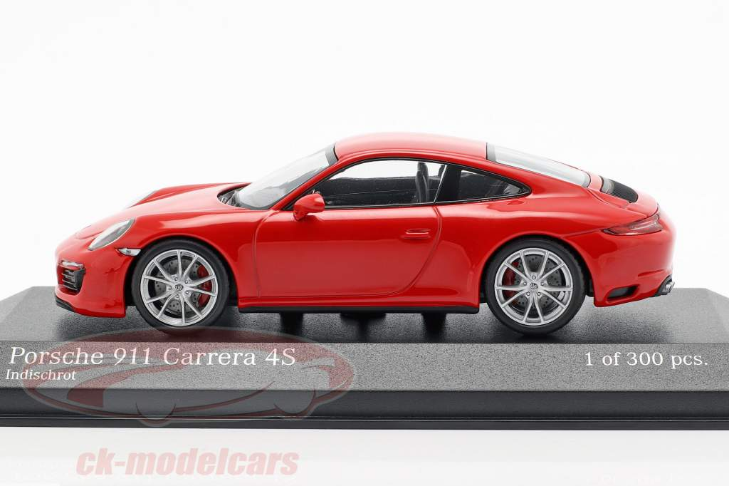Porsche 911 (991 II) Carrera 4S Bouwjaar 2016 bewakers rood 1:43 Minichamps