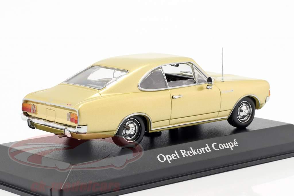 Opel Rekord C coupe Bouwjaar 1966 goud 1:43 Minichamps