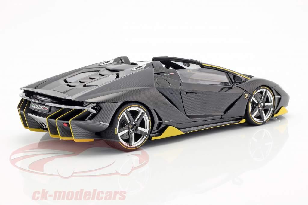 Lamborghini Centenario Roadster Bouwjaar 2016 clear carbon / geel 1:18 AUTOart