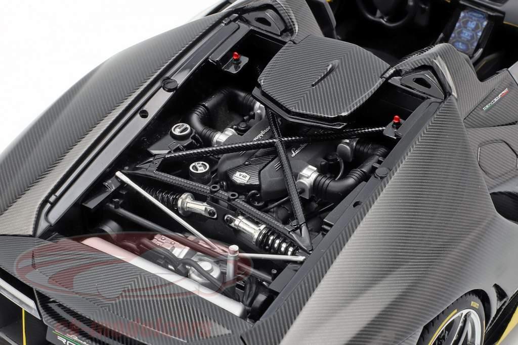 Lamborghini Centenario Roadster Opførselsår 2016 clear carbon / gul 1:18 AUTOart