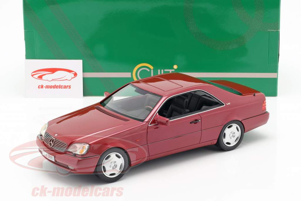 Mercedes-Benz 600 SEC (C140) year 1992 red metallic 1:18 Cult Scale