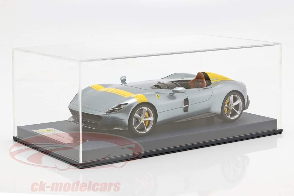 Ferrari Monza SP1 motor Show Paris 2018 grey metallic / yellow with showcase 1:18 LookSmart