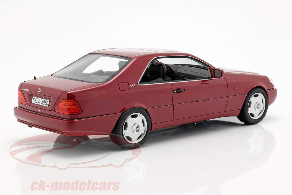 Mercedes-Benz 600 SEC (C140) anno di costruzione 1992 rosso metallico 1:18 Cult Scale