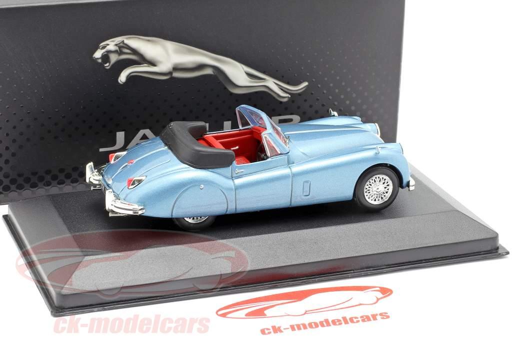 Jaguar XK140 Roadster ano de construção 1957 azul claro metálico 1:43 Atlas