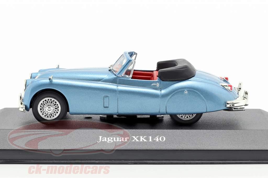 Jaguar XK140 Roadster Bouwjaar 1957 lichtblauw metalen 1:43 Atlas