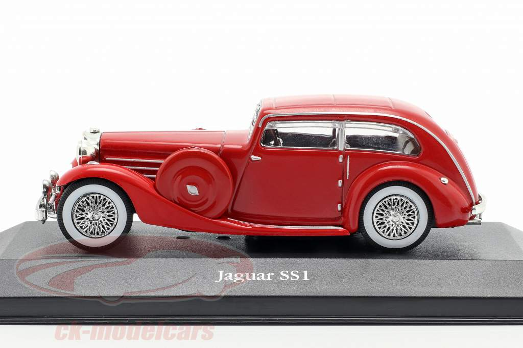 Jaguar SS1 Airline Bouwjaar 1935 rood 1:43 Atlas