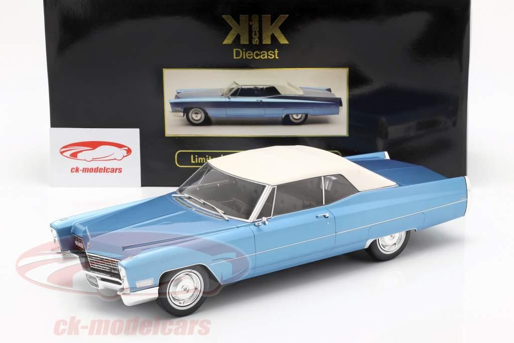 Cadillac DeVille Convertible met softtop 1968 lichtblauw metalen 1:18 KK-Scale
