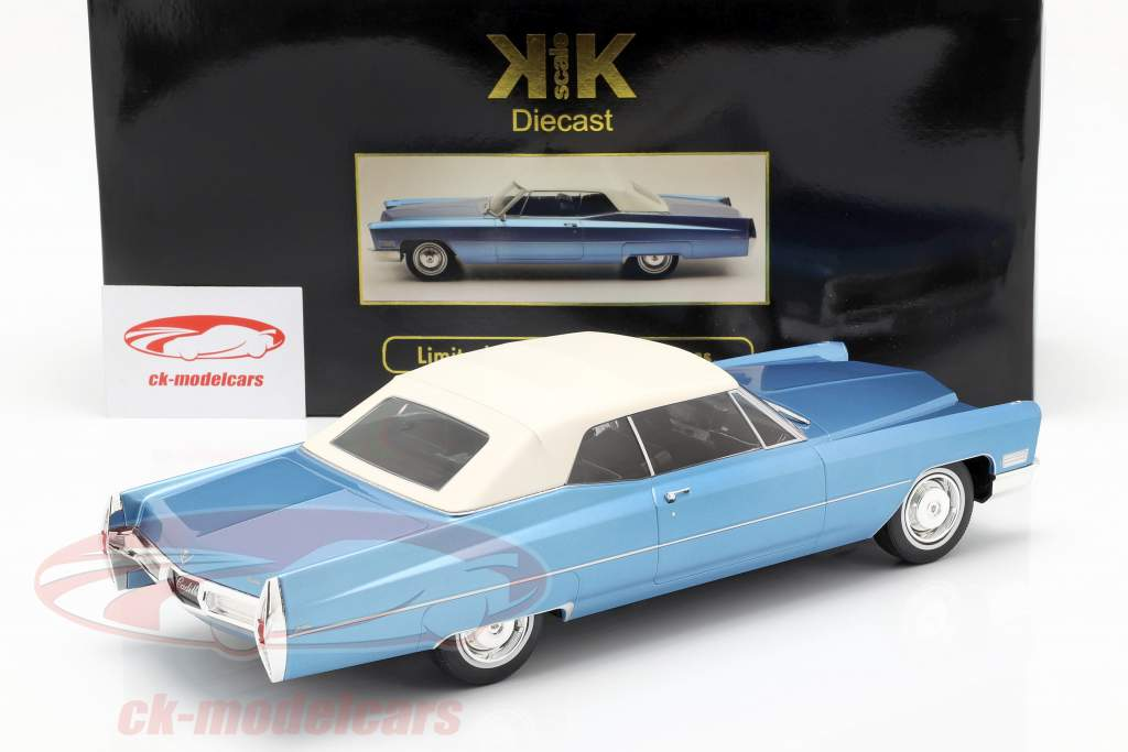 Cadillac DeVille Convertible med softtop 1968 lyseblå metallisk 1:18 KK-Scale