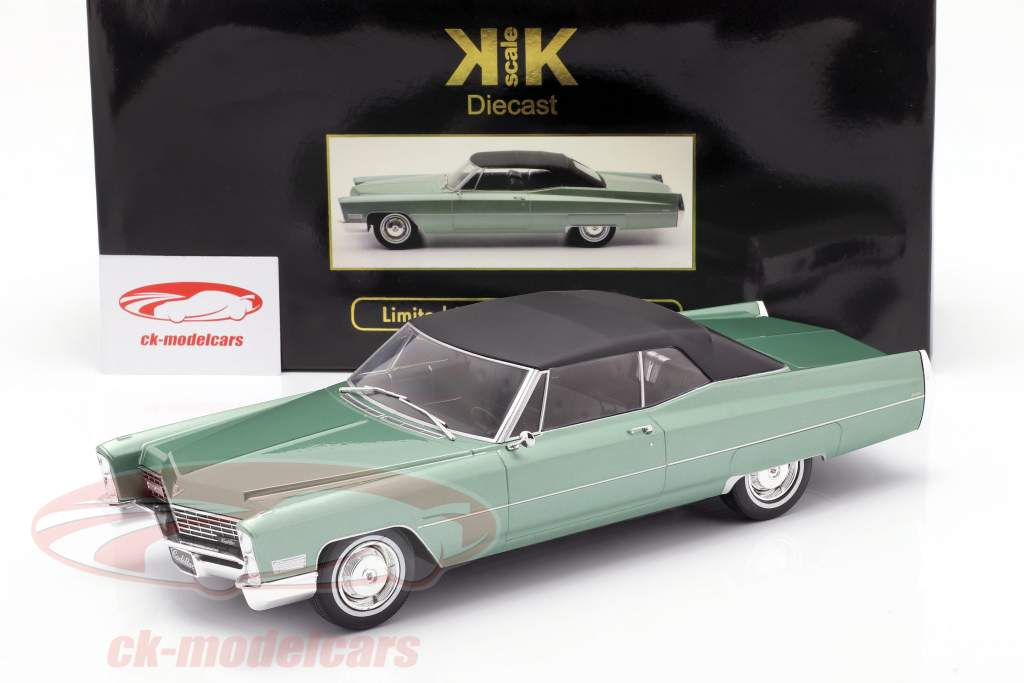 Cadillac DeVille Convertible med softtop 1968 lys grøn metallisk 1:18 KK-Scale