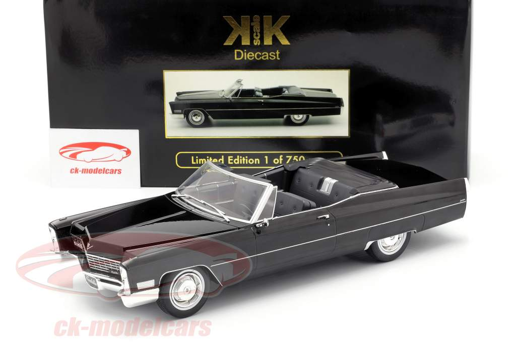 Cadillac DeVille converteerbaar Bouwjaar 1968 zwart 1:18 KK-Scale