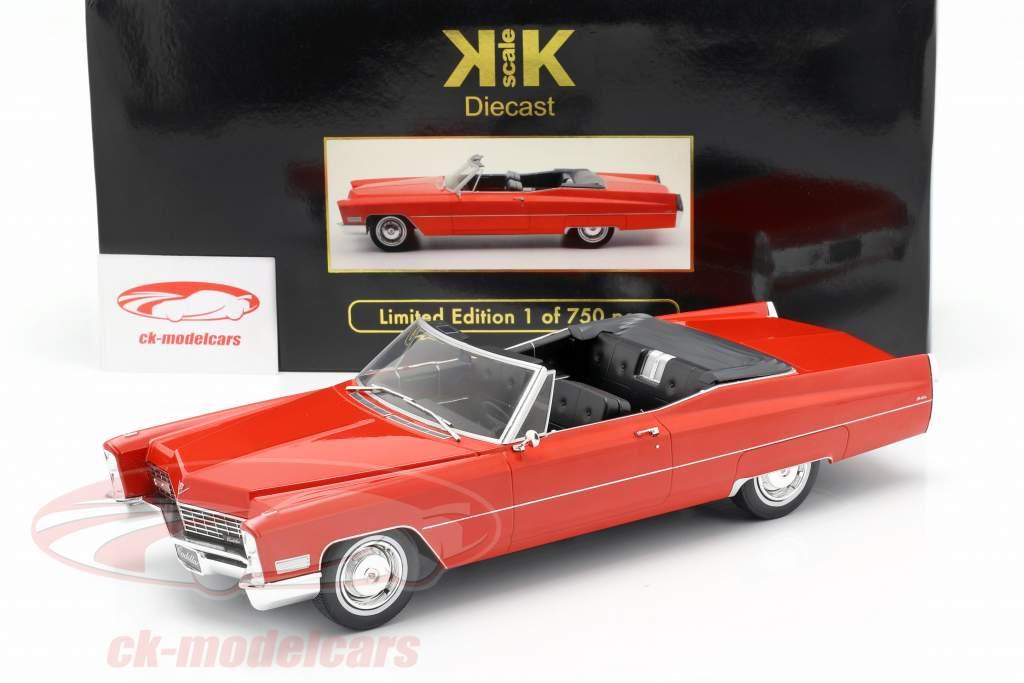 Cadillac DeVille convertible año de construcción 1968 rojo 1:18 KK-Scale