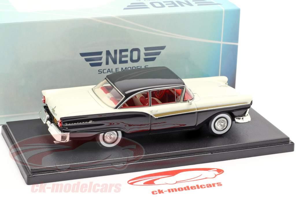 Ford Fairlane 500 2-door Hardtop Opførselsår 1957 sort / hvid 1:43 Neo