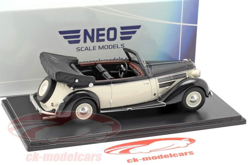 Audi 920 Cabriolet Gläser año de construcción 1939 negro / blanco 1:43 Neo