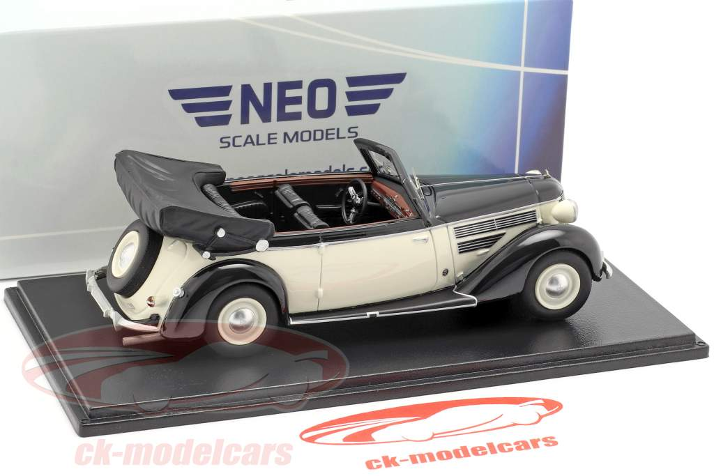 Audi 920 Cabriolet Gläser year 1939 black / white 1:43 Neo