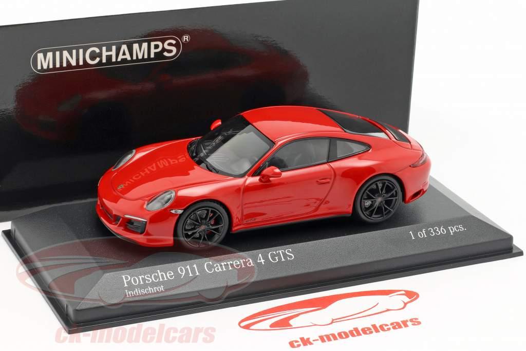 Porsche 911 (991 II) Carrera 4 GTS year 2017 guards red 1:43 Minichamps