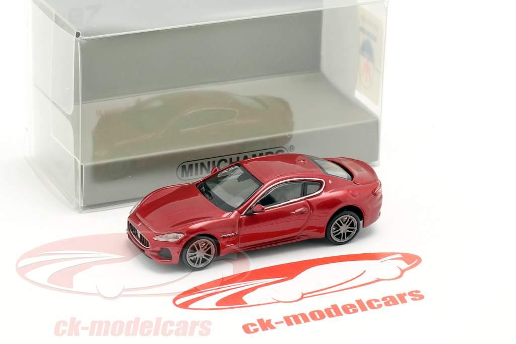 Maserati Granturismo Opførselsår 2018 rød metallisk 1:87 Minichamps