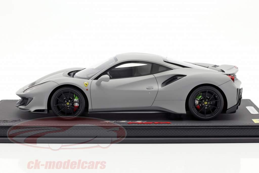 Ferrari 488 Pista year 2018 mat grey 1:18 BBR